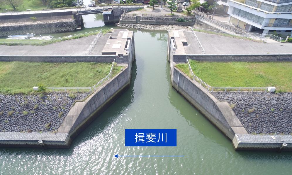 ② 河川構造物(水門)全景